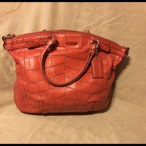 Coach purse, salmon orange